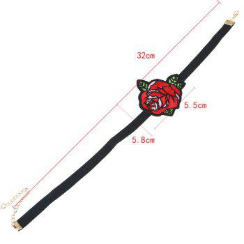 Embroidery Flower Rose Choker Necklace - BLACK