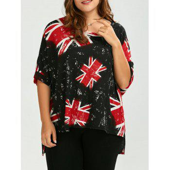 Plus Size Union Jack High Low T-Shirt