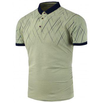 Slim Fit Line Print Polo Shirt