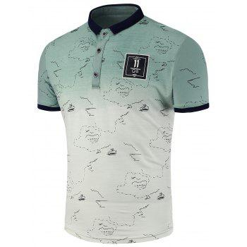 Printed Patch Ombre Polo Shirt