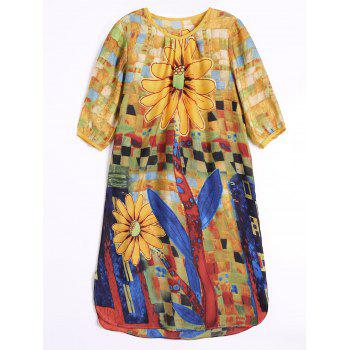 Floral Chiffon Knee Length Dress