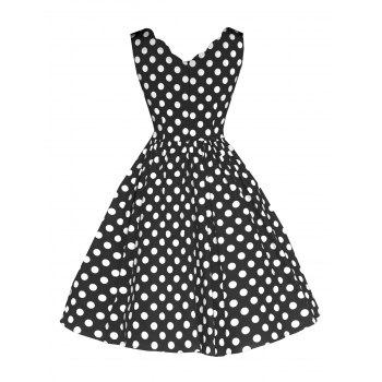 Vintage Polka Dot Flared Dress - BLACK XL