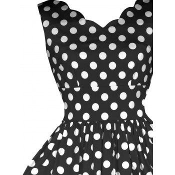 Vintage Polka Dot Flared Dress - BLACK S