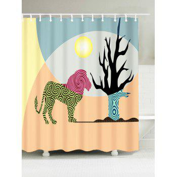 Animal Waterproof Fabric African Shower Curtain - APRICOT W71 INCH * L79 INCH