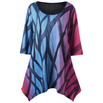 Plus Size Printed Ombre Handkerchief T-Shirt