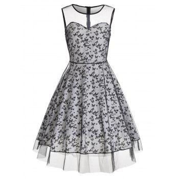 Mesh Panel Vintage Dress with Butterfly Pattern