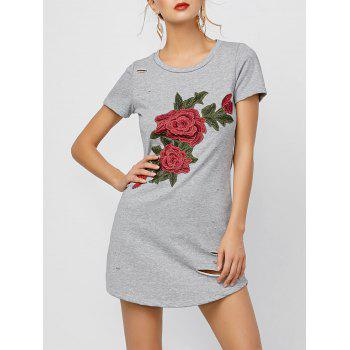 Floral Applique Ripped Tee Dress