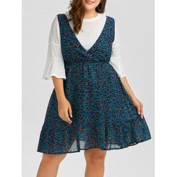 Plus Size Leaf Chiffon Pinafore Dress and Flare Sleeve Tee