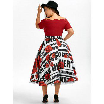 Plus Size Scalloped Floral Vintage Full Dress - RED XL