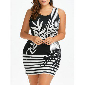 Plus Size Plant and Striped Sleeveless Dress