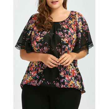 Plus Size Semi Sheer Chiffon Floral Print Blouse