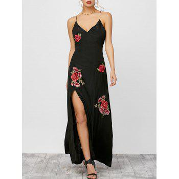High Split Floral Embroidered Cami Dress