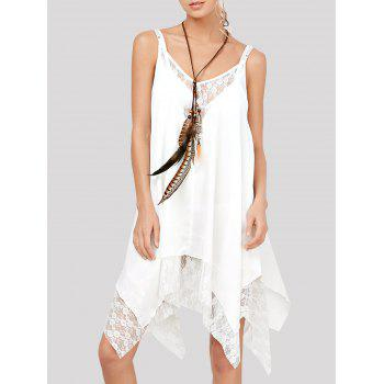 Chiffon Handkerchief Slip Dress with Lace Trim
