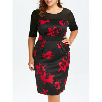 High Waist Plus Size Floral Dress