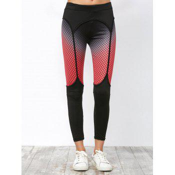 Elastic Workout Leggings with Fishnet Print