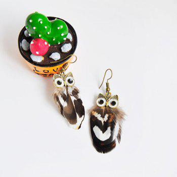 Feather Owl Drop Earrings - COFFEE