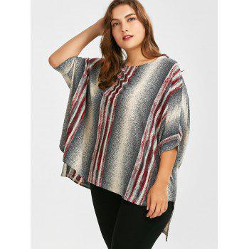Plus Size Ombre Stripe Batwing Sleeve High Low T-Shirt - GRAY ONE SIZE