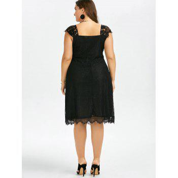 Plus Size Eyelash Lace Retro Party Dress - BLACK 5XL