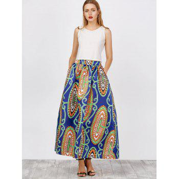 High Waist African Print Skirts - BLUE/GREEN XL