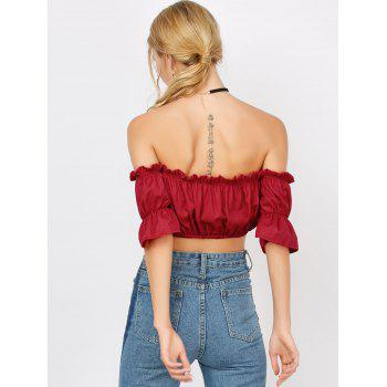 Ruffle Off The Shoulder Crop Top - RED XL