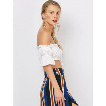 Ruffle Off The Shoulder Crop Top - WHITE S