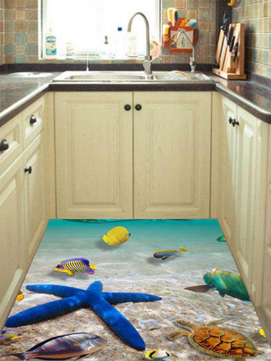 3D Beach Starfish Kitchen Floor Sticker Home Decoration - LAKE BLUE 60*90CM