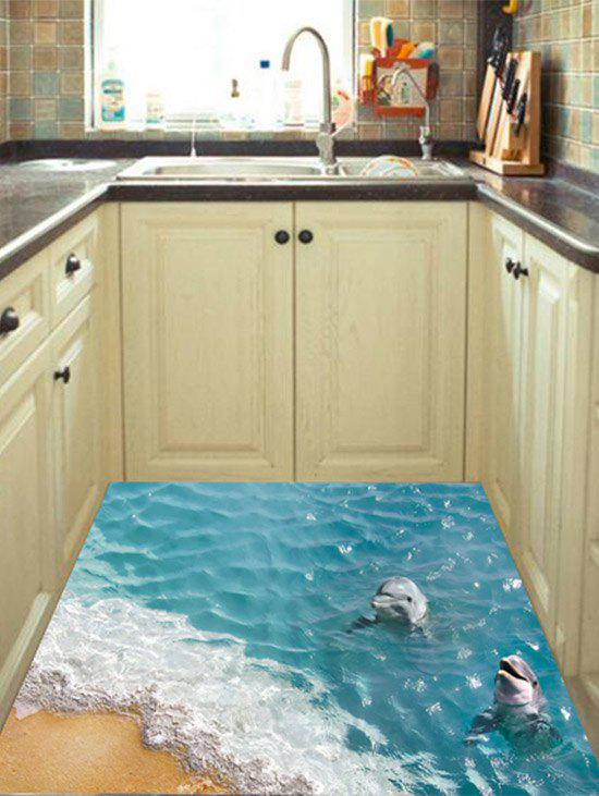 3D Beach Dolphin Floor Sticker