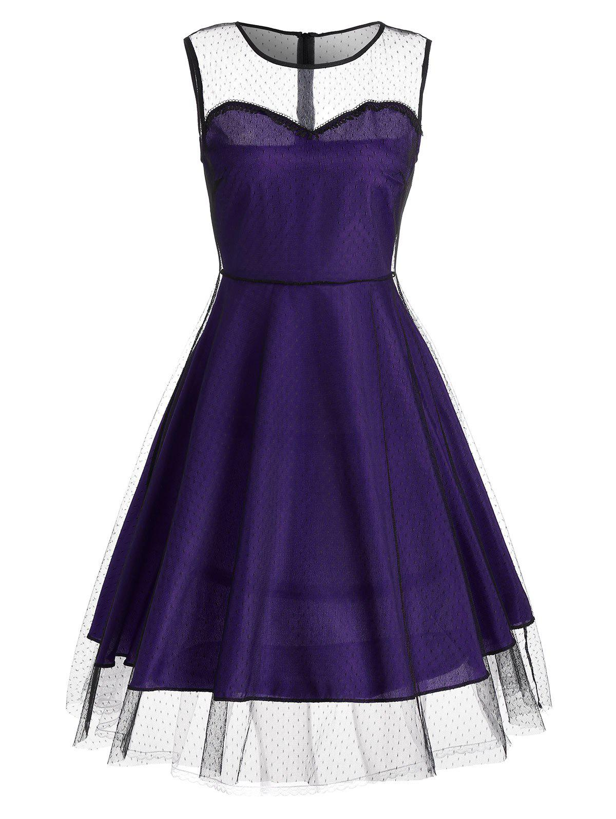 Homecoming Vintage Mesh Panel Dress - PURPLE 2XL