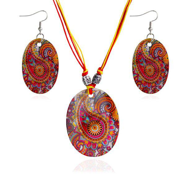 Ethnic Totem Pattern Oval Shape Necklace and Earrings - RED