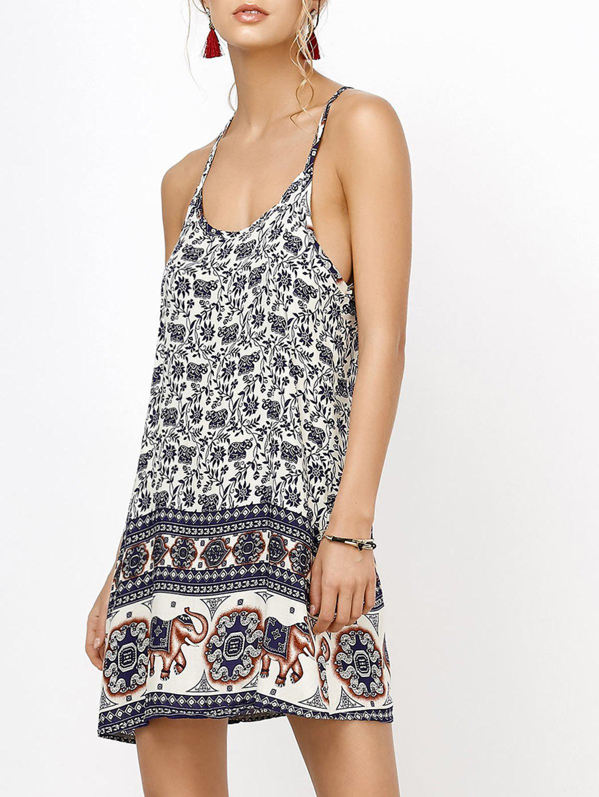 backless sundress with elephant print deep blue l in summer