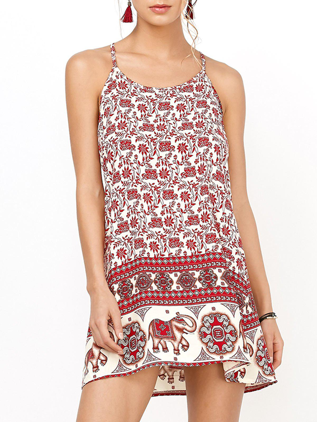 Backless Sundress with Elephant Print - RED M