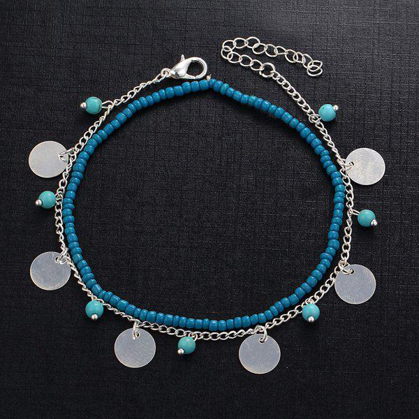 Perles Faux Turquoise Anklet - Argent