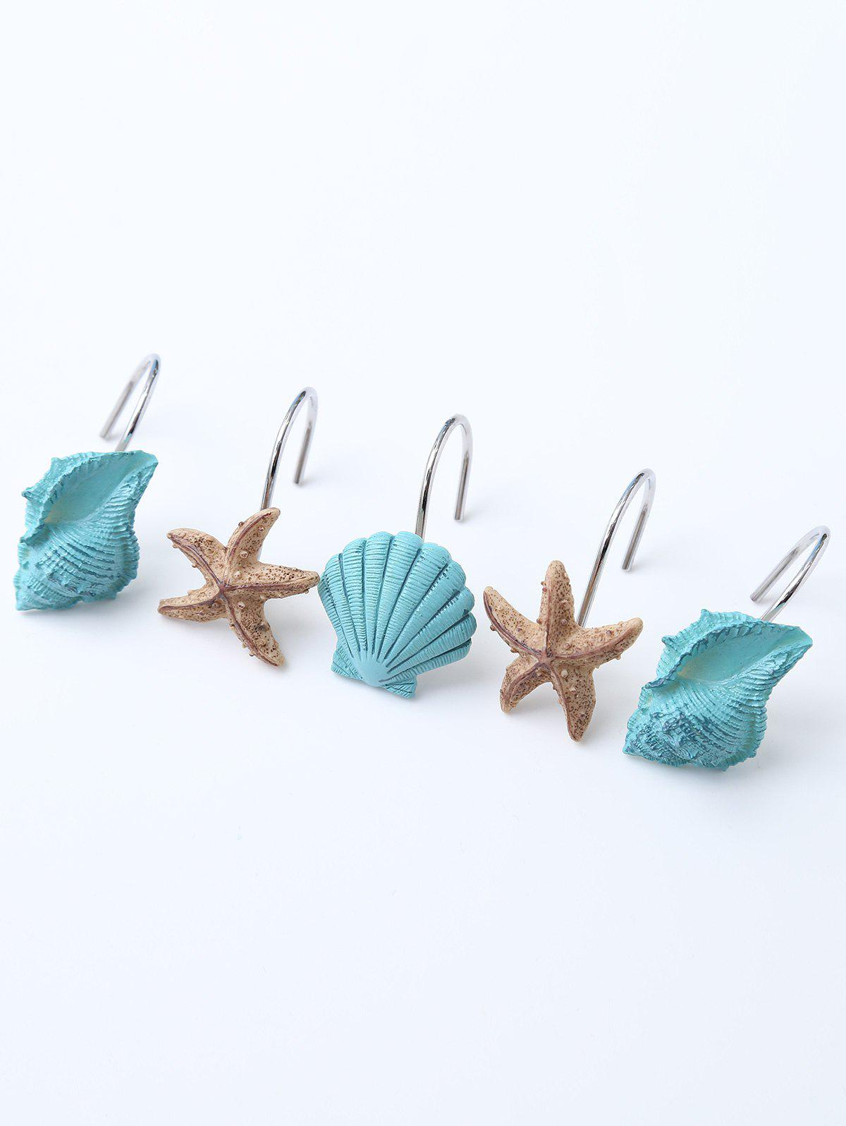 12 Pcs Seashell Shower Curtain Hooks 12 pcs resin bubble bath print shower curtain hooks