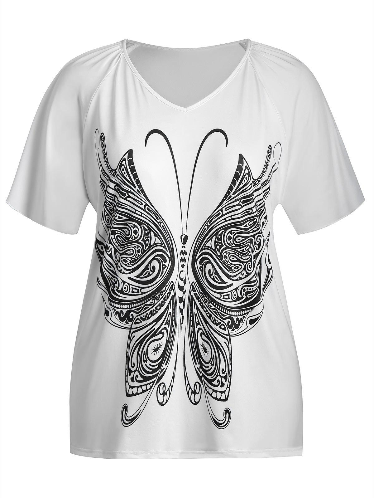 Butterfly Print V Neck Plus Size Top - WHITE 2XL