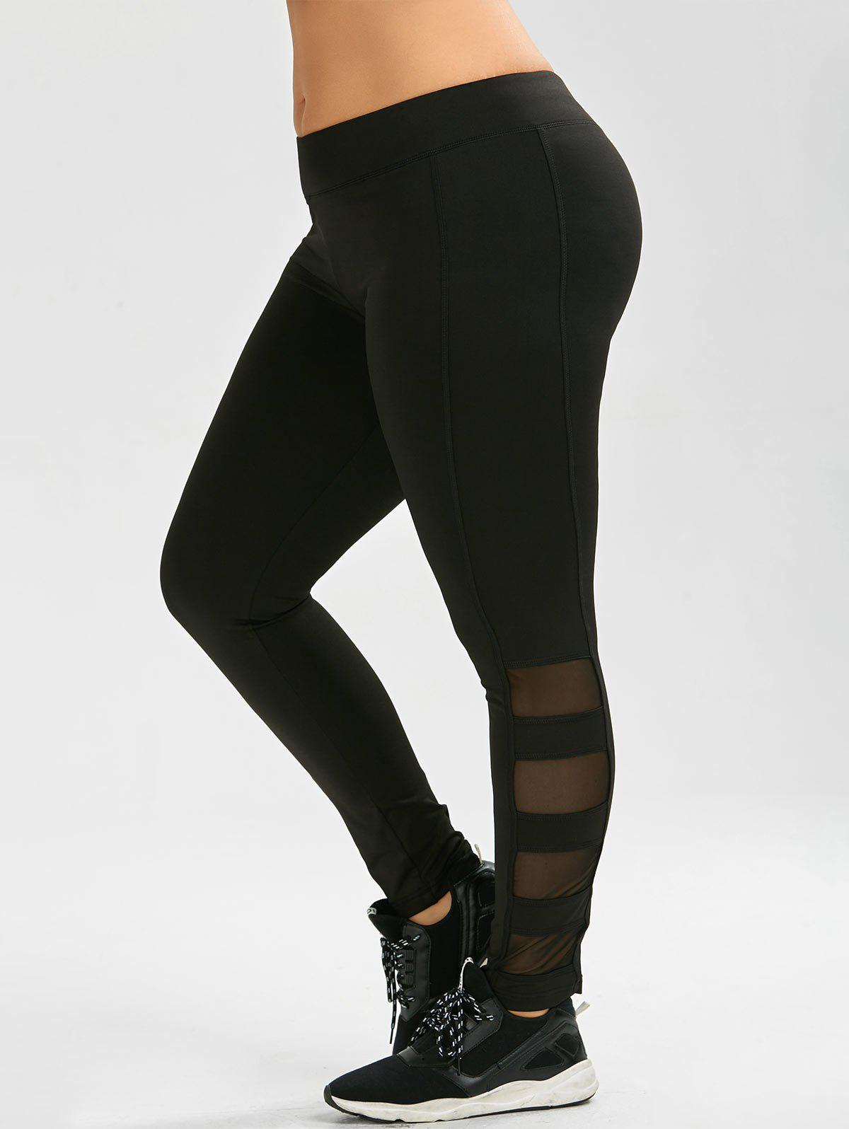 Plus Size Mesh Panel Exercise Leggings - BLACK 4XL