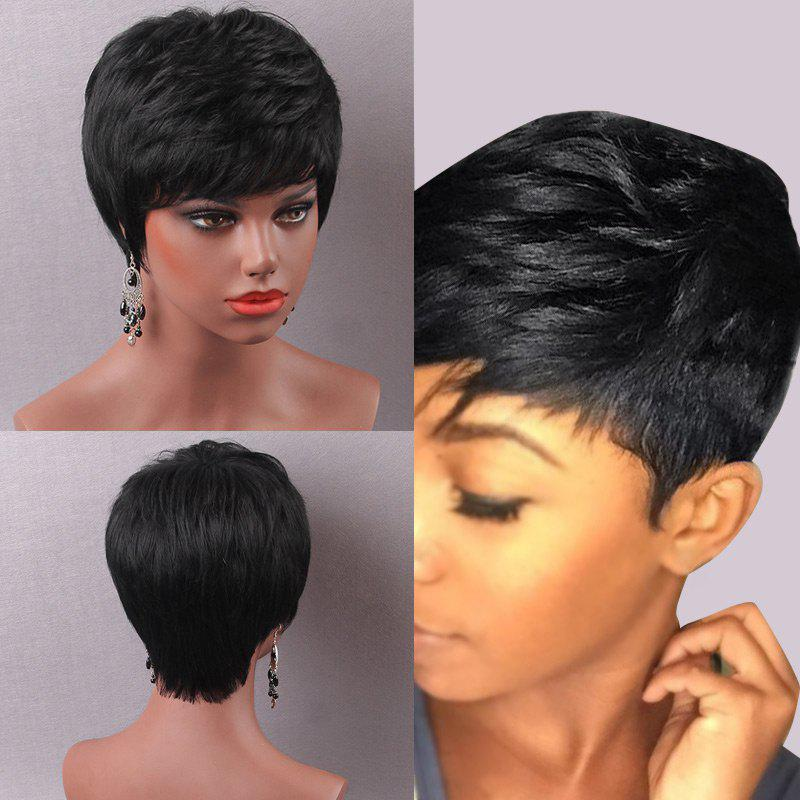 Short Pixie Cut Straight Side Bang Human Hair Wig, JET