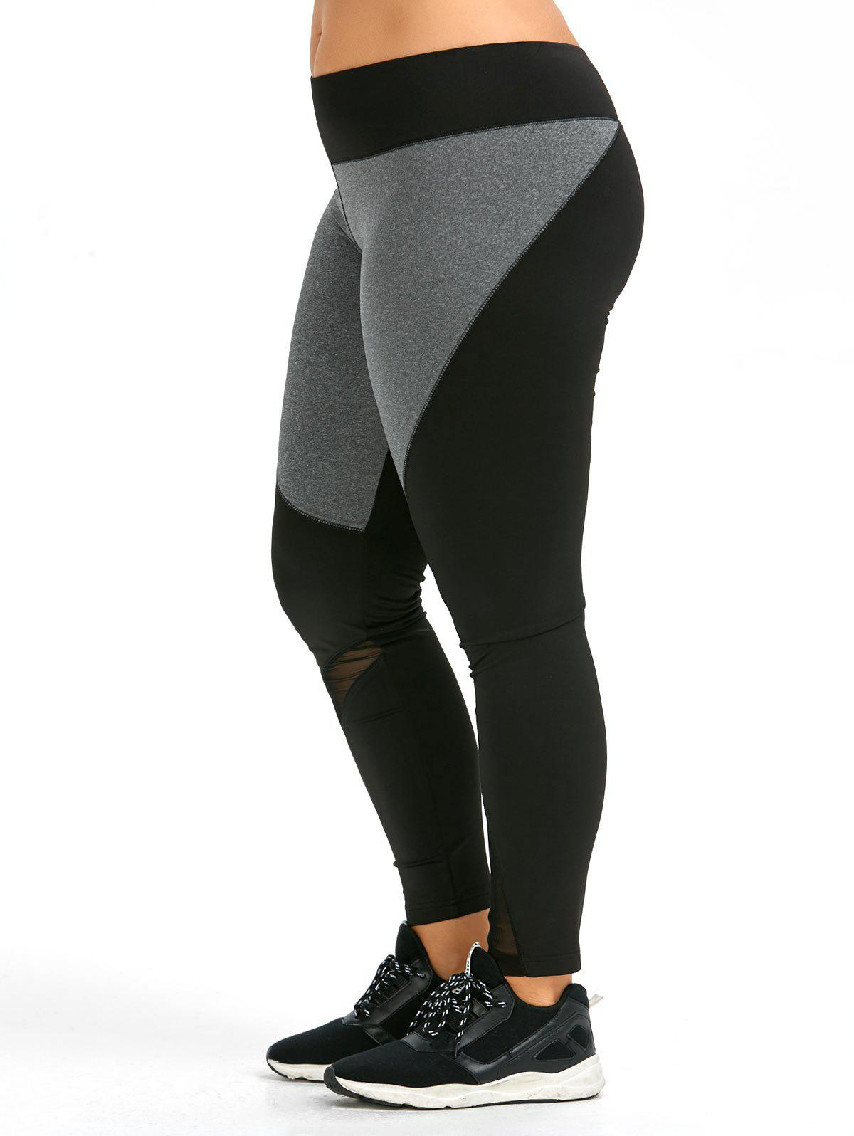Plus Size Color Block Workout Leggings - BLACK 4XL
