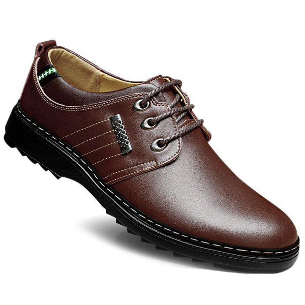 Colour Block Stitching Formal Shoes - BROWN 42