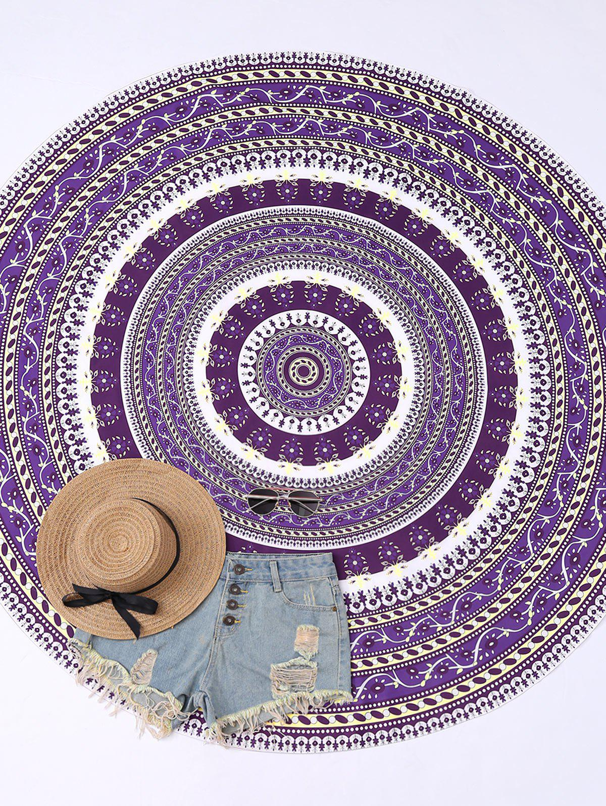 Circle Floral Print Beach Cover Throw - PURPLE ONE SIZE
