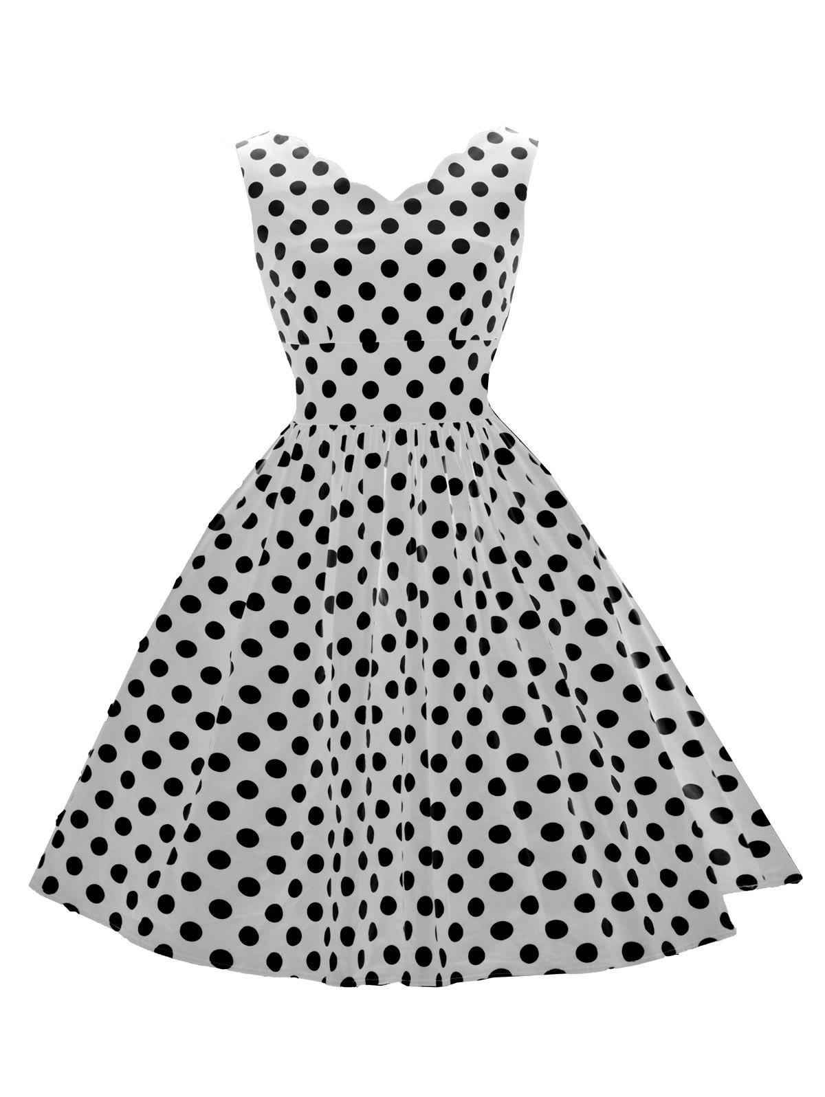 Vintage Polka Dot Flared Dress - WHITE S