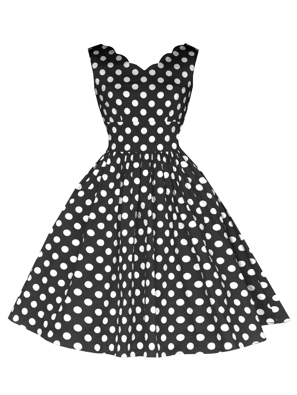 Vintage Polka Dot Flared Dress - BLACK 2XL