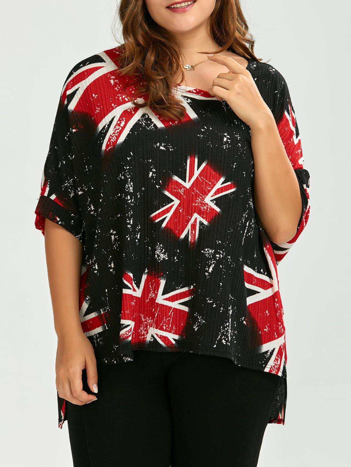 Plus Size Union Jack High Low T-Shirt от Dresslily.com INT