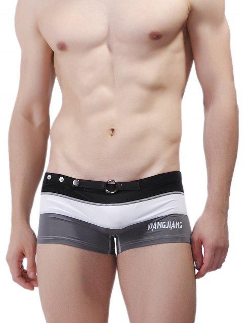 Color Block Panel Metal Loop Swimming Trunks - GRAY L