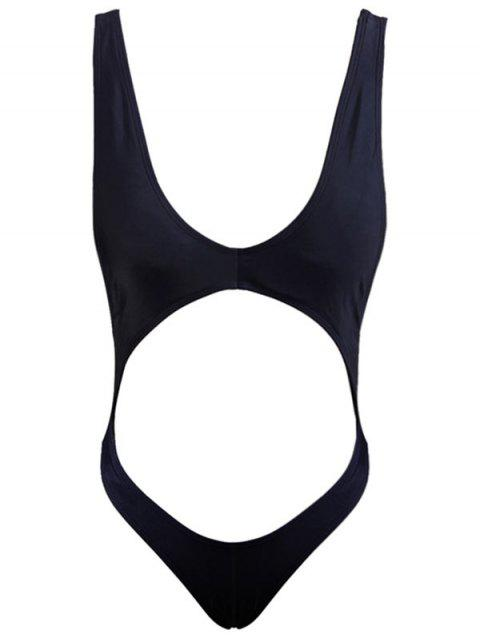 Hollow Out Backless One Piece Swimwear - BLACK L