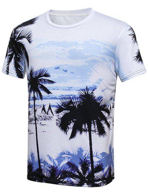 Palm Tree Printed Round Neck Hawaiian T-shirt - COLORMIX XL