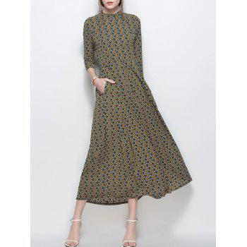 Mock Neck Printed Maxi Chiffon Dress with Pockets