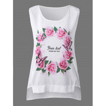 Sleeveless Rose Floral High Low Blouse