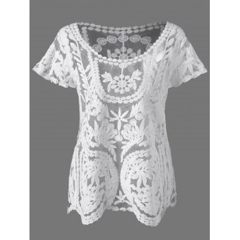 Lace Embroidered See Through Blouse