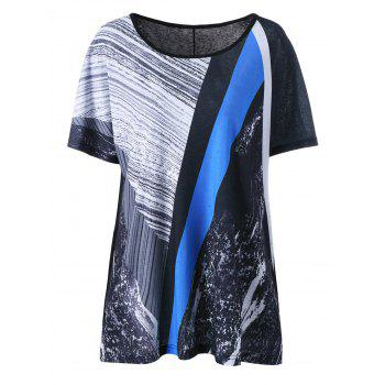 Plus Size Abstract Printed Long T-Shirt
