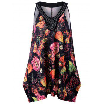 Plus Size Beadings Sleeveless Leaf Printed Swing Top